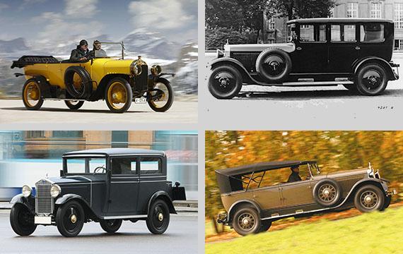 Audi Typ C (esq.) e Typ M, o primeiro Audi com motor de 6 cilindros (dir.). Créditos das imagens: Audi