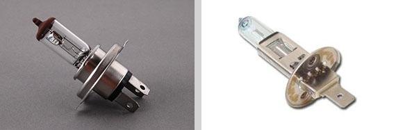 As versões TS e LSE utilizavam lâmpadas H4 60/55W (esq.) nos refletores externos e H1 55W (dir.) nos refletores internos.