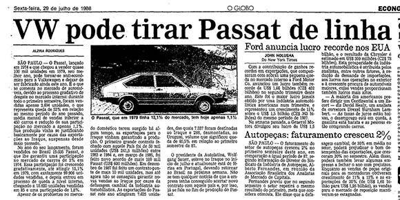O Globo, 29 de julho de 1988.