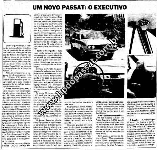 Matéria de lançamento do Passat Executivo no jornal O Estado de São Paulo no dia 21 de outubro de 1977.