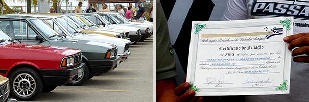 Passat reunidos no evento (esq.) e Certificado de Filiação à FBVA (dir.).