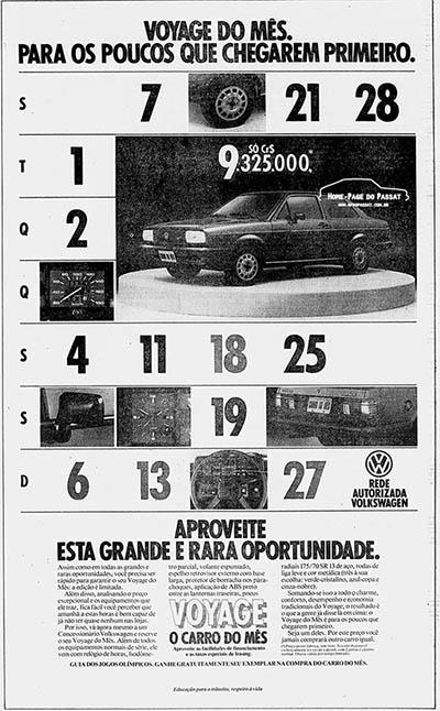 Anúncio do Voyage do Mês – Jornal do Brasil, 17 de junho de 1984.