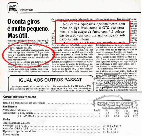 A linha 1983 ainda trazia de série as rodas de aço, mesmo para as versões GTS e LSE. A revista Quatro Rodas nº 274 (Maio de 1983) trazia essa informação no teste do Passat GTS (acima). O manual de 1983 confirmava a informação (abaixo).